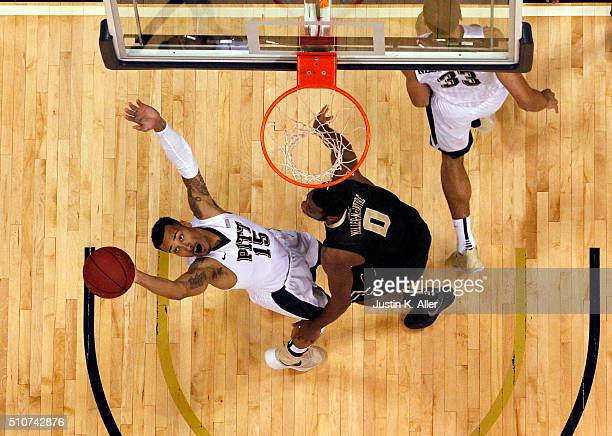 Sterling Smith of the Pittsburgh Panthers fouls Codi MillerMcIntyre of the Wake Forest Demon Deacons during the game at Petersen Events Center on...