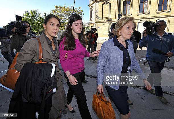 Stern family lawyer Catherine Chirazi Edouard Stern's daughter Mathilde and Stern's separated wife Beatrice arrive on June 10 2009 for the opening...