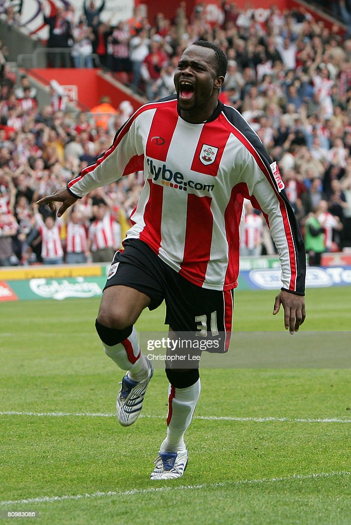 Stern John of Southampton celebrates scoring their third and winning goal during the Coca-Cola Championship match between Southampton and Sheffield United at St Mary's Stadium on May 4, 2008 in Southampton, England.