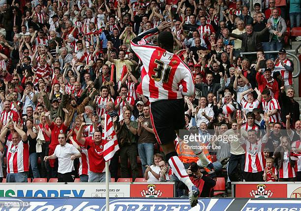 Stern John of Southampton celebrates scoring their third and winning goal during the CocaCola Championship match between Southampton and Sheffield...
