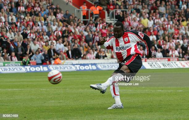 Stern John of Southampton scores their second goal during the CocaCola Championship match between Southampton and Sheffield United at St Mary's...
