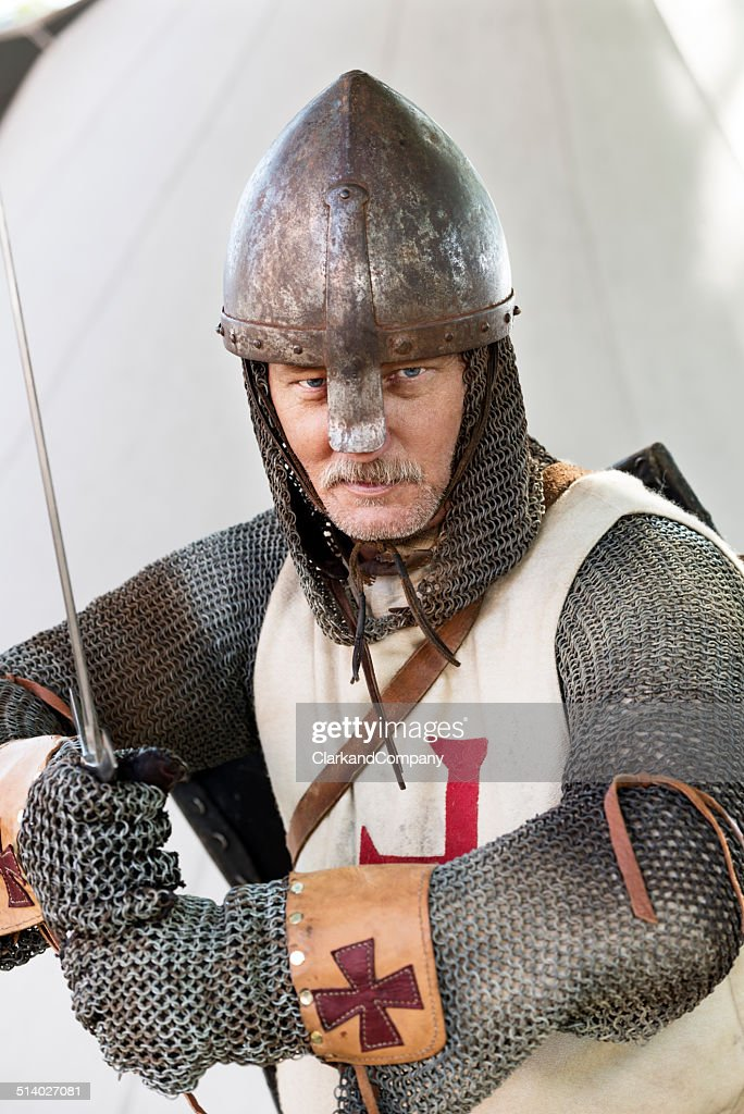 Stern Looking Knight In A Fighting Pose : Stock Photo