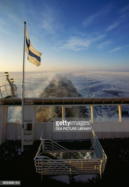 Stern of a ferry boat in the frozen Baltic sea Finland