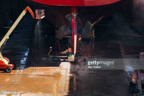 stern (back) of ship in dry dock - passenger craft stock pictures, royalty-free photos & images