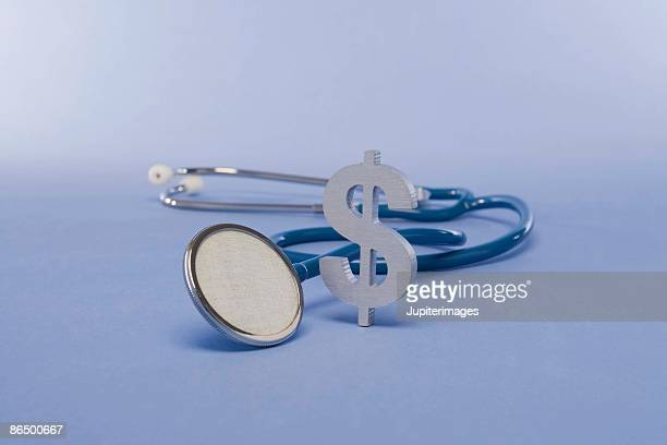 Stethoscope and a dollar sign