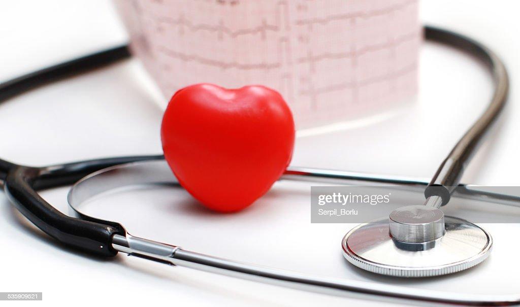 Stethoscope and Cardiogram (ECG) : Stock Photo