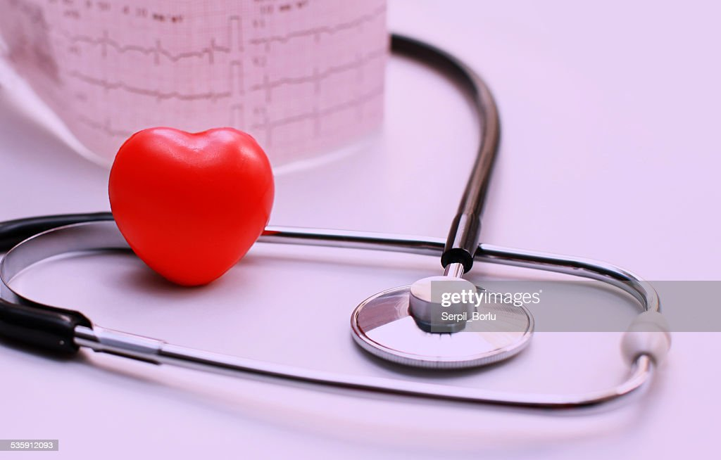 Stethoscope and Cardiogram (ECG) : Stock Photo