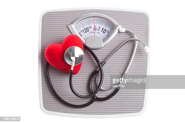 Stethoscope and heart on Bathroom Sacles