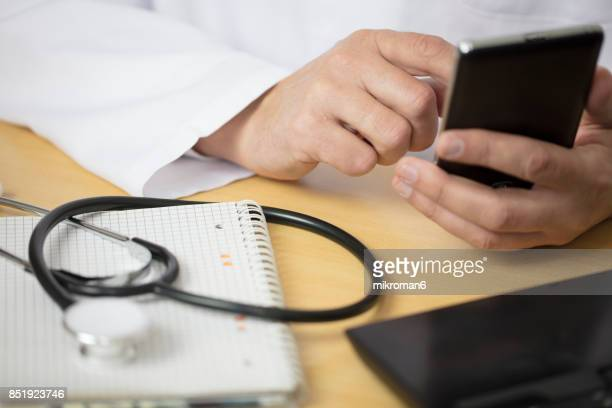 Stethoscope and Laptop, Doctor working an Exam, Healthcare and medical concept,test results. Medical concept