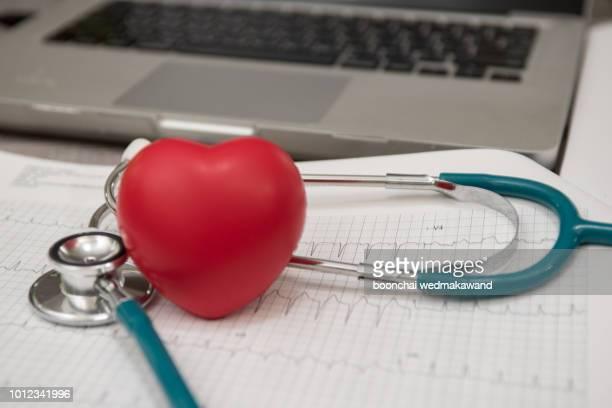 stethoscope and money on ekg graph background. medicine concept - 改革 ストックフォトと画像