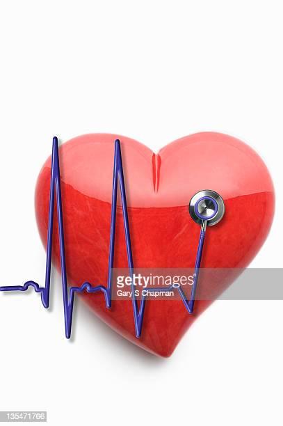 EKG stethoscope and stone heart