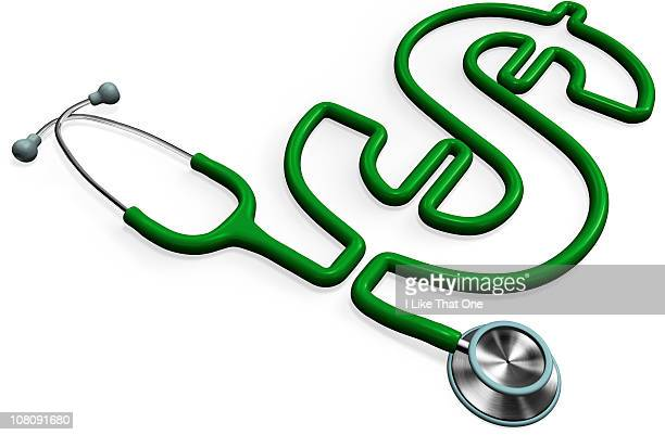 Stethoscope forming a dollar sign