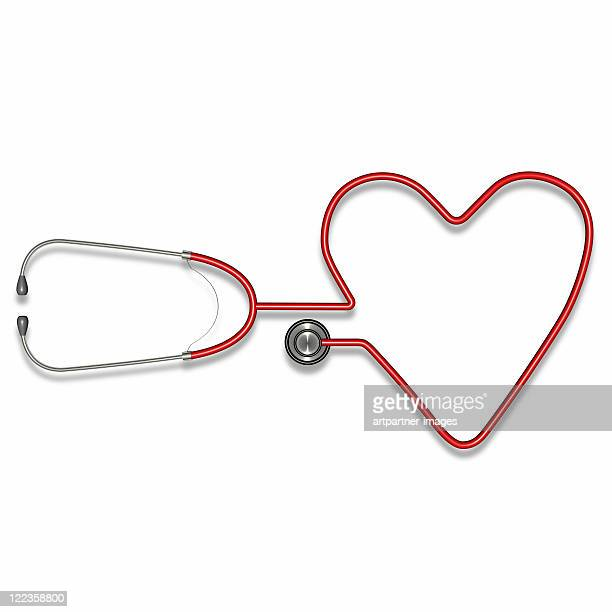 Stethoscope forming a heart shape on white