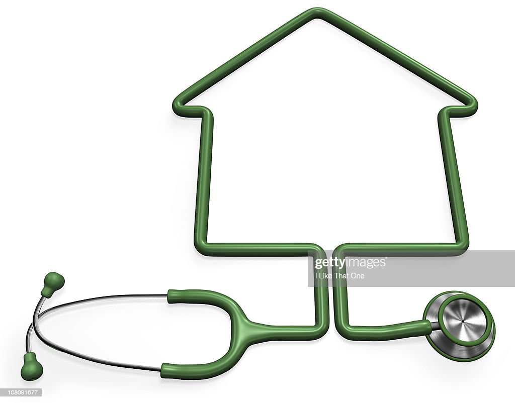 Stethoscope forming a house shape : Stock Photo