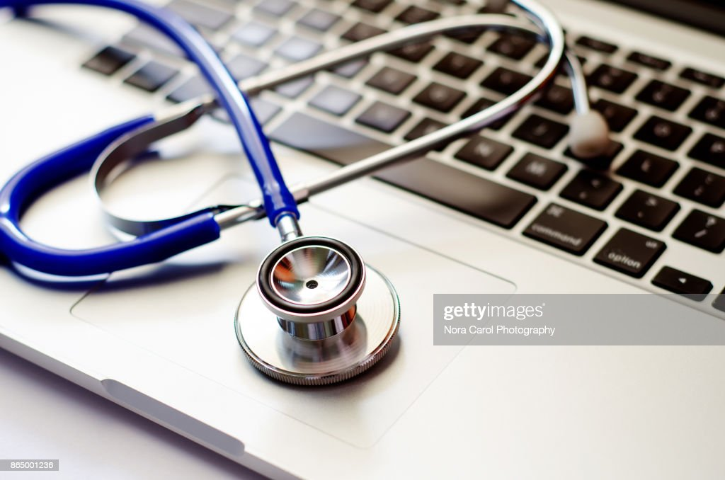 Stethoscope on Computer Laptop Keyboard : Stock Photo