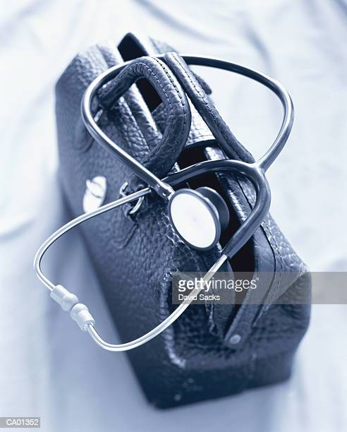 Stethoscope on doctor's bag