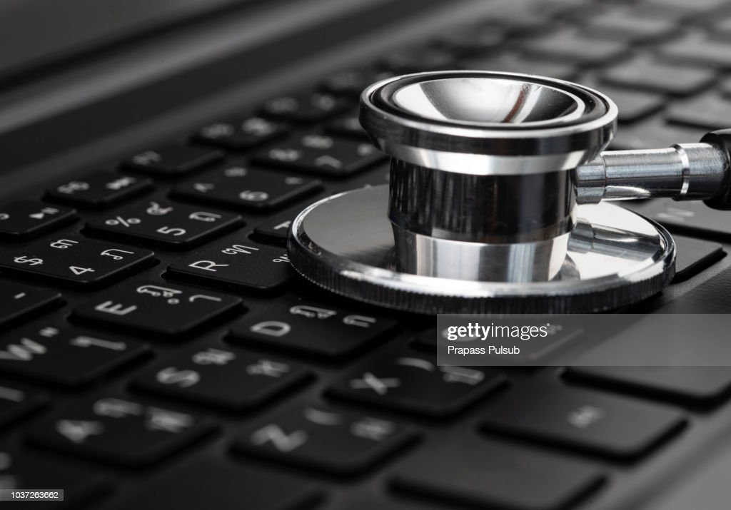 Stethoscope On Laptop Computer Antivirus Virus Protection