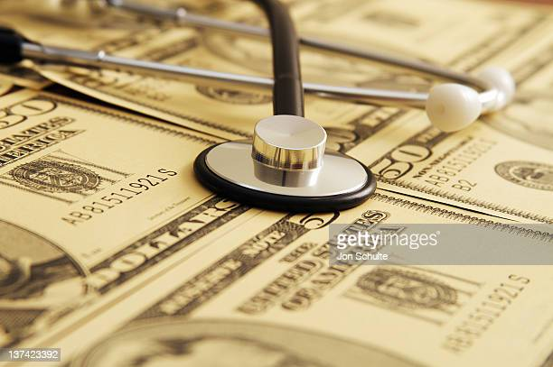 Stethoscope on USA Cash Background