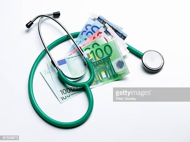 Stethoscope with Euro bank notes