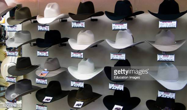 Stetson hat display western outfitter store Cody Wyoming USA.