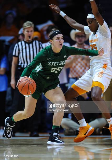Stetson Hatters forward Kendall Lentz being guarded by Tennessee Lady Vols guard Jordan Horston during a college basketball game between the...