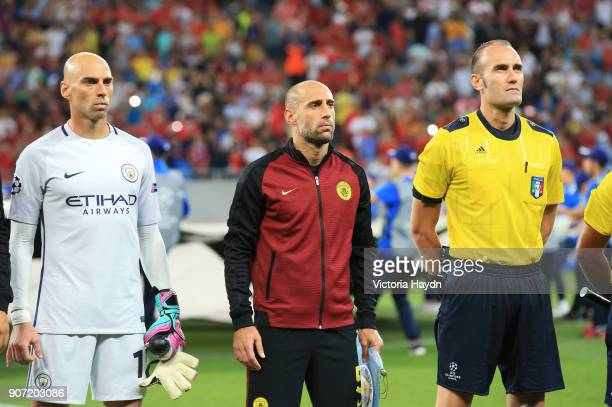 Steuau Bucharest v Manchester City UEFA Champions League Play Offs First Leg Stadionul National Manchester City's Willy Caballero and Pablo Zabaleta...