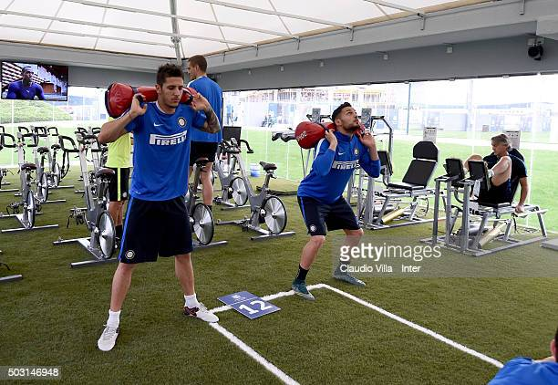 Stevan Jovetic and Danilo D'Ambrosio in action during the FC Internazionale training session at Aspire on January 02 2016 in Doha Qatar