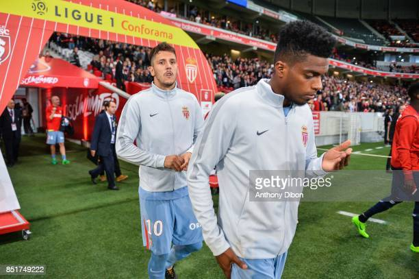 Stevan Jovetic and Jemerson of Monaco during the Ligue 1 match between Lille OSC and AS Monaco at Stade Pierre Mauroy on September 22 2017 in Lille