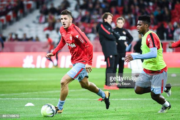 Stevan Jovetic and Jermeson of Monaco during the Ligue 1 match between Lille OSC and AS Monaco at Stade Pierre Mauroy on September 22 2017 in Lille