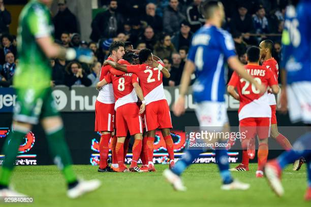 Stevan Jovetic and Joao Moutinho of Monaco celebrate a goal during the Ligue 1 match between Strasbourg and AS Monaco at on March 9 2018 in Strasbourg