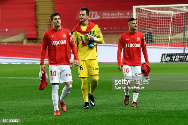 Stevan Jovetic Diego Benaglio and Gabriel Boschilia of Monaco during the Ligue 1 match between AS Monaco and EA Guingamp at Stade Louis II on...