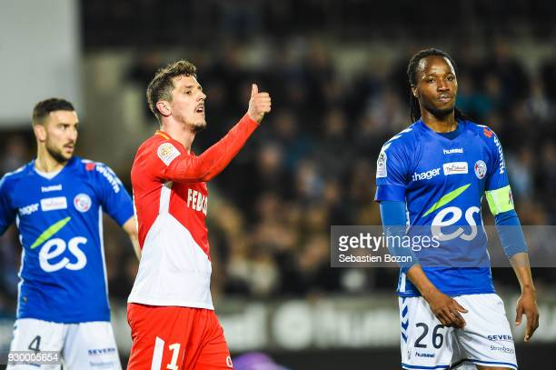 Stevan Jovetic during the Ligue 1 match between Strasbourg and AS Monaco at on March 9 2018 in Strasbourg