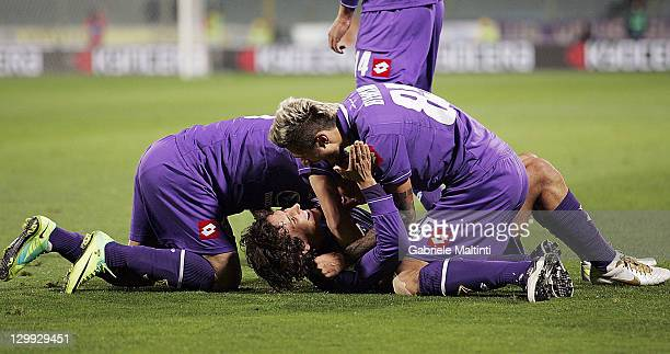 Stevan Jovetic of ACF Fiorentina celebrates after scoring a goal during the Serie A match between ACF Fiorentina and Catania Calcio at Stadio Artemio...