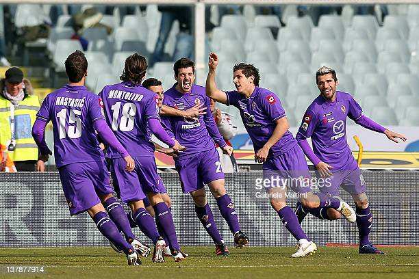 Stevan Jovetic of ACF Fiorentina celebrates with his team mates after scoring a goal during the Serie A match between ACF Fiorentina and AC Siena at...