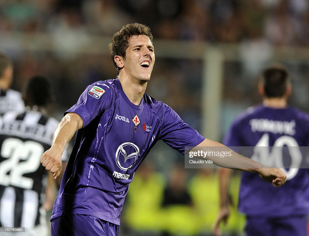 Stevan Jovetic of ACF Fiorentina dejected during the Serie A match between ACF Fiorentina and FC Juventus at Stadio Artemio Franchi on September 25, 2012 in Florence, Italy.