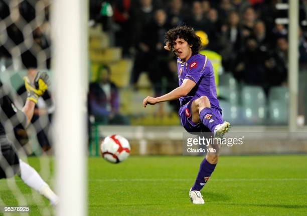 Stevan Jovetic of ACF Fiorentina during the Serie A match between ACF Fiorentina and FC Internazionale Milano at Stadio Artemio Franchi on April 10...