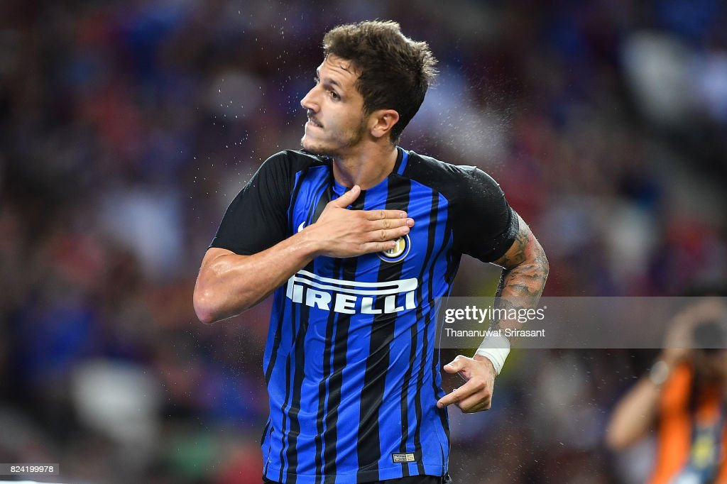 Stevan Jovetic #8 of FC Interernazionale celebrates his goal during the International Champions Cup match between FC Internazionale and Chelsea FC at National Stadium on July 29, 2017 in Singapore.