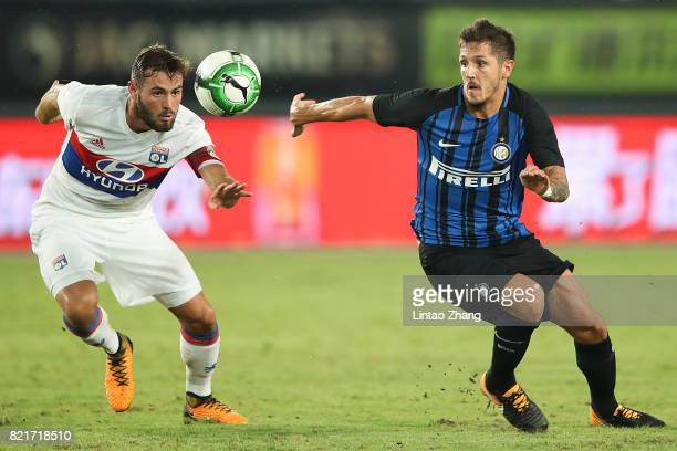 Stevan Jovetic of FC Internationale competes for the ball with Lucas Tousart of Olympique Lyonnais during the 2017 International Champions Cup China...