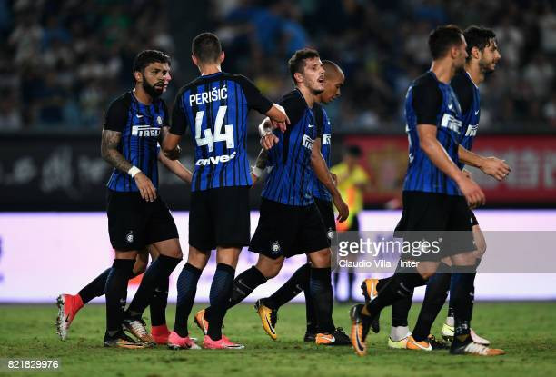 Stevan Jovetic of FC Internazionale celebrates after scoring the opening goal during the 2017 International Champions Cup match between FC...
