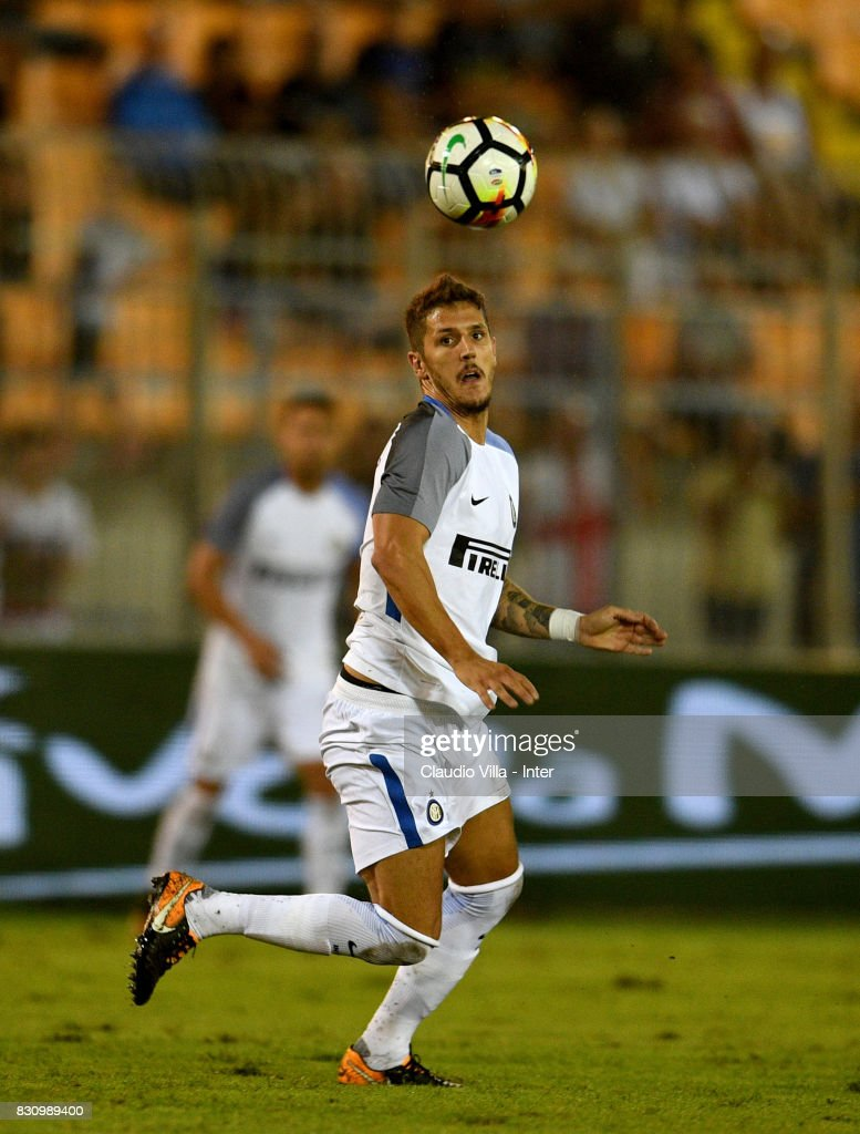 Stevan Jovetic of FC Internazionale in action during the Pre-Season Friendly match between FC Internazionale and Real Betis at Stadio Via del Mare on August 12, 2017 in Lecce, Italy.