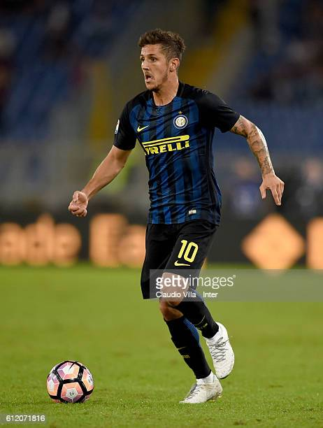 Stevan Jovetic of FC Internazionale in action during the Serie A match between AS Roma and FC Internazionale at Stadio Olimpico on October 2 2016 in...