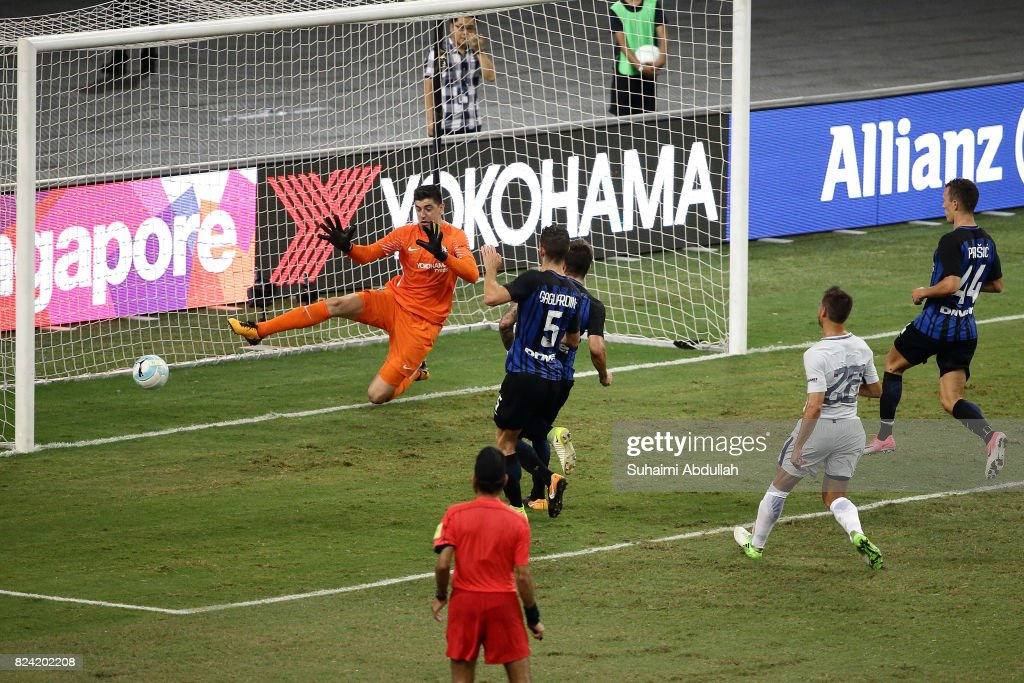 Stevan Jovetic of FC Internazionale shoots and scores the first goal during the International Champions Cup match between FC Internazionale and Chelsea FC at National Stadium on July 29, 2017 in Singapore.