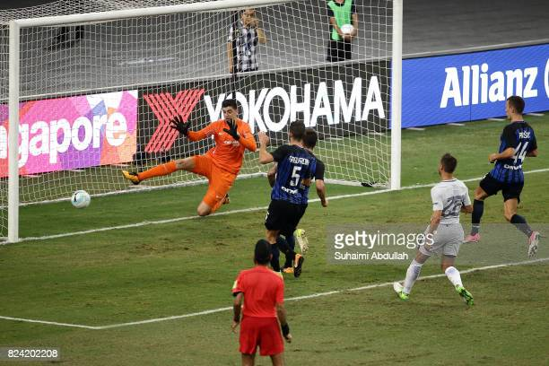 Stevan Jovetic of FC Internazionale shoots and scores the first goal during the International Champions Cup match between FC Internazionale and...