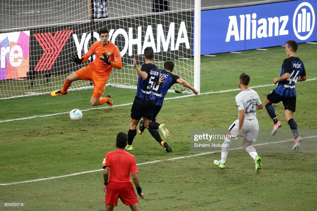Stevan Jovetic (3rd L) of FC Internazionale shoots and scores the first goal during the International Champions Cup match between FC Internazionale and Chelsea FC at National Stadium on July 29, 2017 in Singapore.