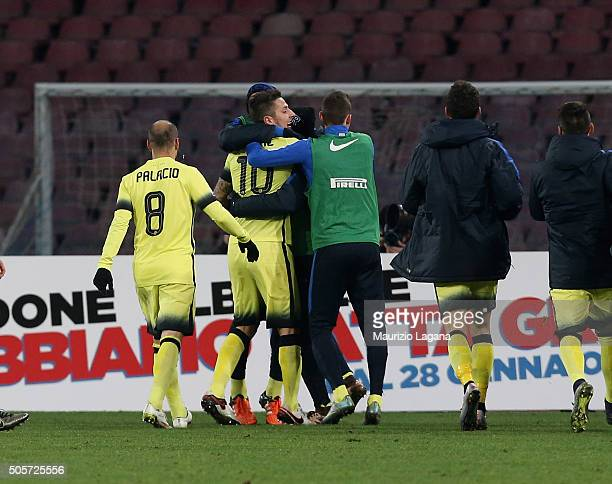 Stevan Jovetic of Inter celebrates afetr scoring the opening goal during the TIM Cup match between SSC Napoli and FC Internazionale Milano at Stadio...