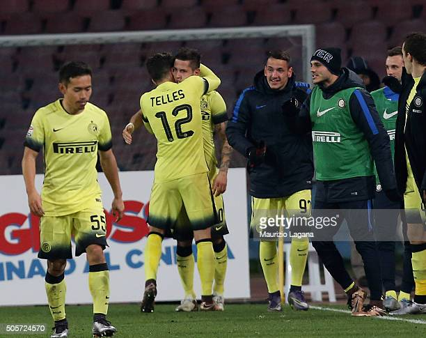 Stevan Jovetic of Inter celebrates after scoring his team's opening goal during the TIM Cup match between SSC Napoli and FC Internazionale Milano at...