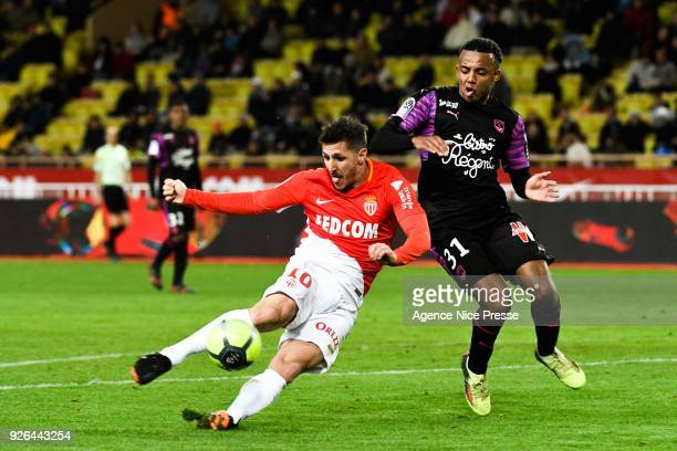 Stevan Jovetic of Monaco and Jules Kounde of Bordeaux during the Ligue 1 match between AS Monaco and FC Girondins de Bordeaux at Stade Louis II on...