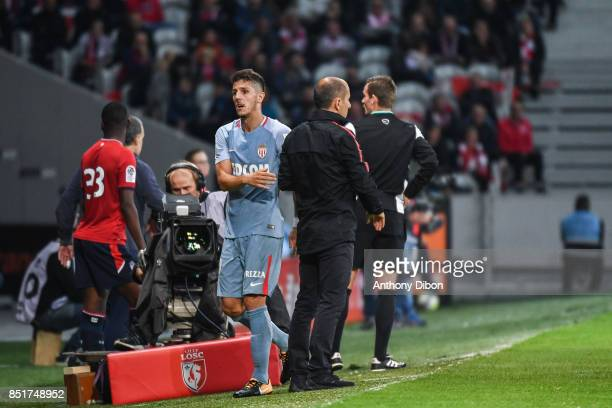 Stevan Jovetic of Monaco and Leonardo Jardim coach of Monaco during the Ligue 1 match between Lille OSC and AS Monaco at Stade Pierre Mauroy on...