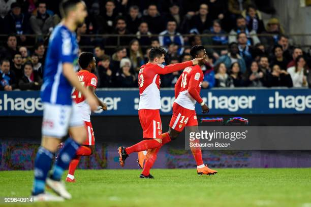 Stevan Jovetic of Monaco celebrates a goal during the Ligue 1 match between Strasbourg and AS Monaco at on March 9 2018 in Strasbourg