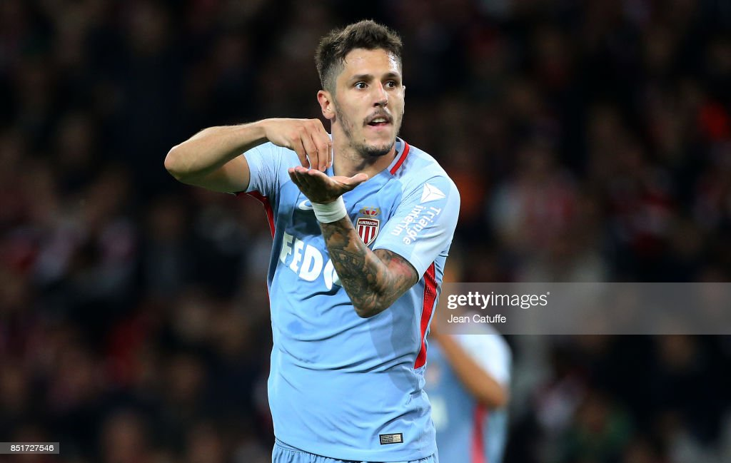 Stevan Jovetic of Monaco celebrates his goal during the French Ligue 1 match between Lille OSC (LOSC) and AS Monaco at Stade Pierre Mauroy on September 22, 2017 in Lille, France.